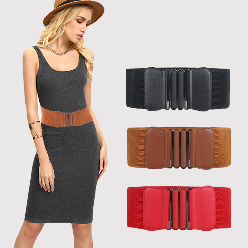 Women Waist Belt Cummerbund Waistband Women Wide PU Leather Elastic Waistband  Elastic Belt Square Buckle Black Dress Decorate
