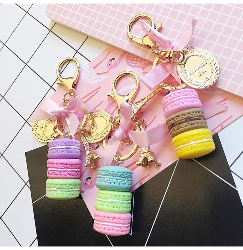 2019 Resin Macaron Keychain Key Chain Women Macaroon Bag Charm France Macarons Effiel Tower Keychains Anahtarlik Llavero
