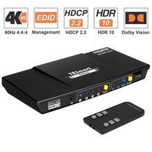 HDMI-переключатель с 4 портами, поддержка HDTV 4K @ 60 Гц 4:4:4, с S/PDIF и L/R аудиовыходом, ИК-пульт дистанционного управления