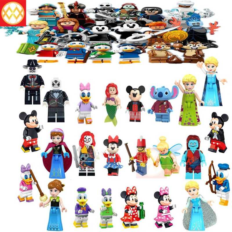 Pumping Princess Anna Elsa Mickey mouse Donald Duck Jack and sally Building Blocks bricks Collection Toys for children Playmobil