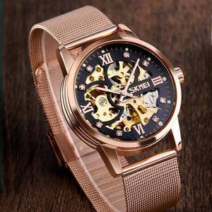 Image 2 - SKMEI Reloj de pulsera automático para hombre, creativo, mecánico, con esfera DE ARTE hueca, correa de acero sin cadena, 9199