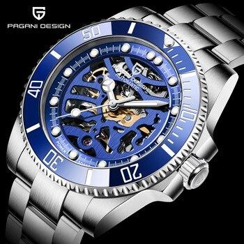 PAGANI DESIGN zegarki męskie szkielet mechaniczny zegarek dla mężczyzn automatyczny zegarek mężczyźni nadgarstek ze stali nierdz
