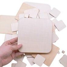 1 14 ซม.สแควร์เปล่าไม้หัตถกรรมไม้ชิ้นDIY Handmade Scrapbookingวัสดุอาคารตกแต่งParty Home