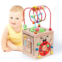 ENLIGHTEN Early Childhood Educational Multi-functional Treasure Chest Large Size Tetrahedral Music Bead-stringing Toy Bead Toy