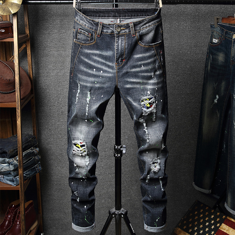 REPPUNK 2019 New Mens Distressed Destroy Pants Knee Ripped Patches Blue Denim Skinny Biker Jeans Male Elastic Slim Trousers