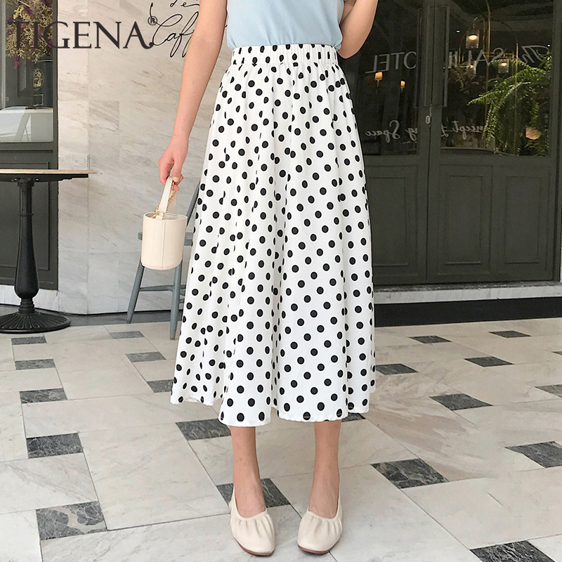 TIGENA Black White Cute Polka Dot Skirt Women Fashion 2020 Summer Casual A Line High Waist Chiffon Midi Long Skirt Female