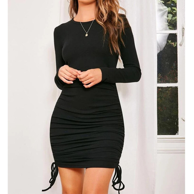 Black Women Bodycon Dress Women Drawstring long Sleeve Mini Party Dress Solid Basic Skinny Casual Dress for women 1