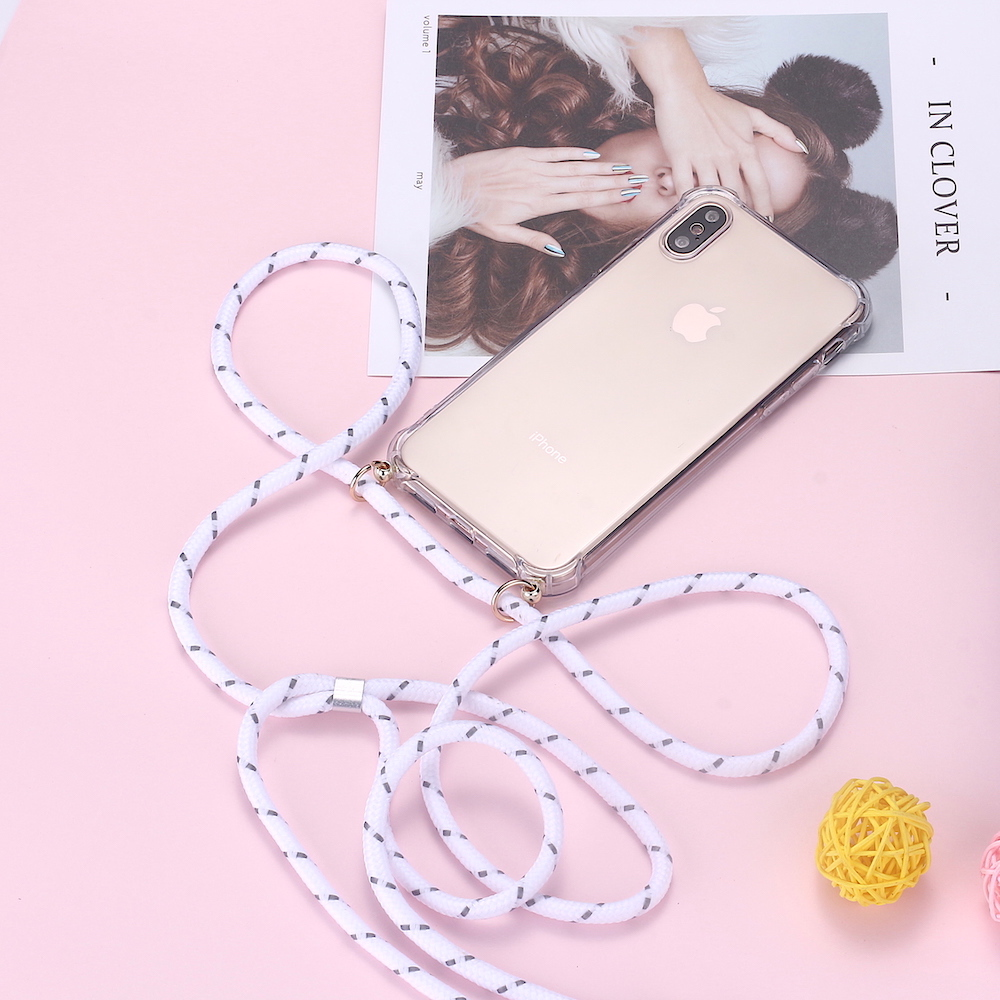 Strap Cord Chain Lanyard Phone Case For IPhone XS X Necklace Mobile Carry Cover Transparent Soft TPU Case To Hang On Apple X XS