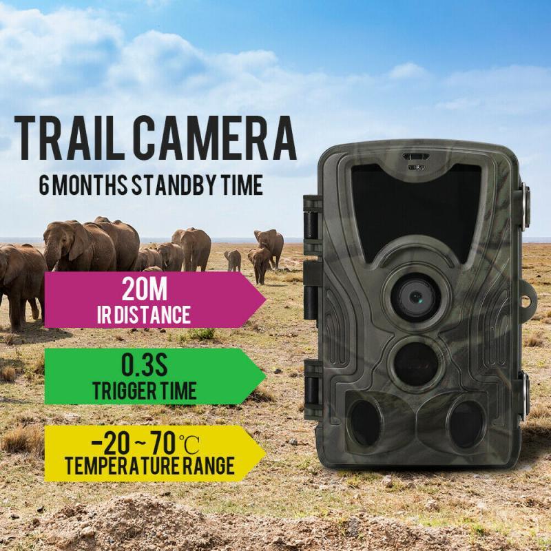 HC801A Hunting Camera 16MP 32GB/64GB Trail Camera IP65 Photo Traps 0.3sTrigger Time 1000nm Wild Camera 1080P Night Vision camera