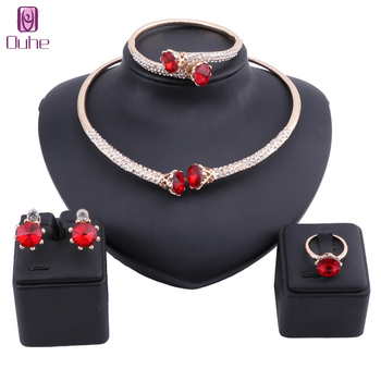 Bridal Dubai Gold Jewelry Sets Crystal Necklace Bangle Earring Ring Nigerian Wedding Party Women Jewelry Set liffly dubai gold jewelry sets for women big necklace african beads jewelry set nigerian bridal wedding costume jewelry