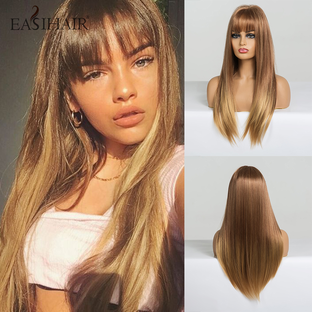 EASIHAIR Long Blonde Ombre Straight Synthetic Wigs With Bangs Wigs For Women Cosplay Wigs Natural Hair Heat Resistant
