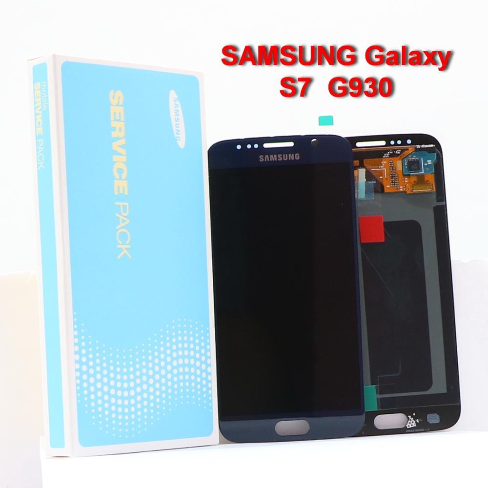 100% ORIGINAL SUPER AMOLED S7 LCD avec cadre pour SAMSUNG Galaxy S7 G930 G930F téléphone portable affichage écran tactile numériseur