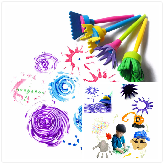 4Pcs/set DIY Flower Graffiti Sponge Art Supplies Brushes Seal Painting Tools Funny Drawing Toys Funny Creative Toy For Children