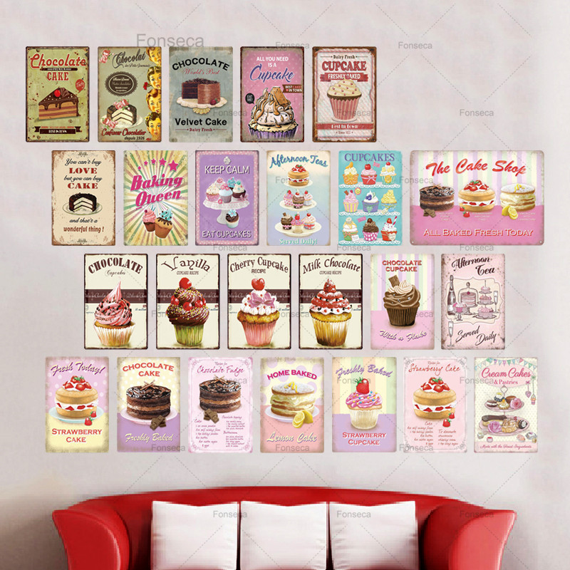 Sign Wall Decor Poster Plaque Metal Vintage In Bakery Kitchen Make