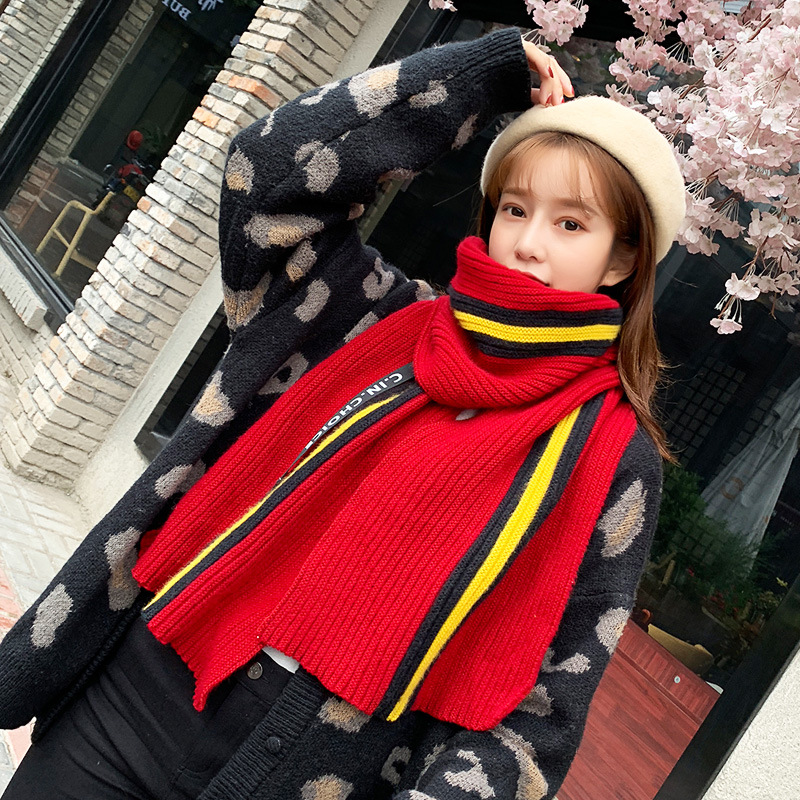 2019 Korean-style Autumn And Winter New Style Tassels Knitted Scarf Long Women's Warm Solid Color Scarf Shawl