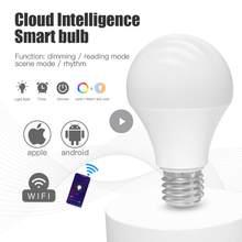 Wifi inteligente lâmpada e27 b22 pode ser escurecido rgb + cct inteligente lâmpada app controle de voz trabalho com alexa casa do google 110/220v temporizador