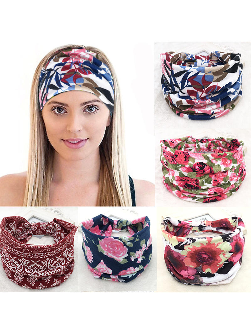Headbands Hair-Accessories Turban Headpiece Stretch Wide-Headwrap Yoga Hot-Sale Run Cotton