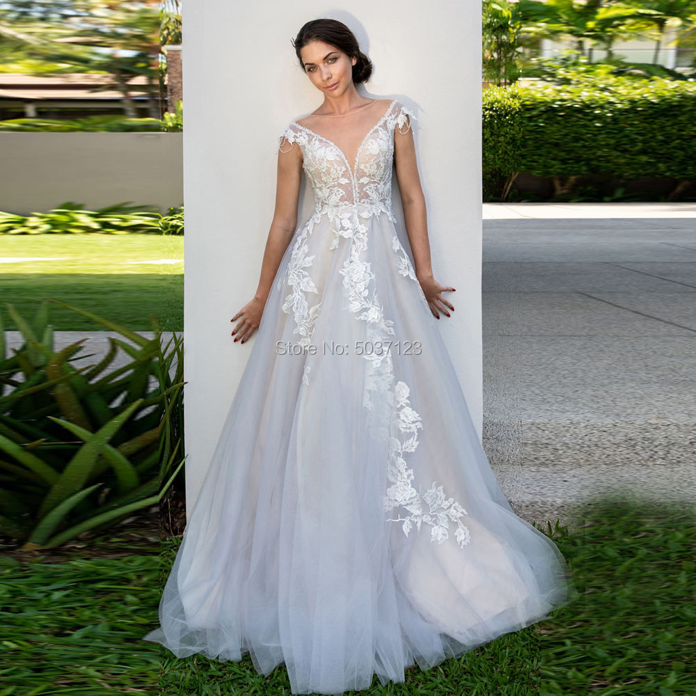 Beach A Line Wedding Dresses 2019 Deep V Neck Button Illusion Cap Sleeves Wedding Bridal Gowns Court Train Vestidos Plus Size