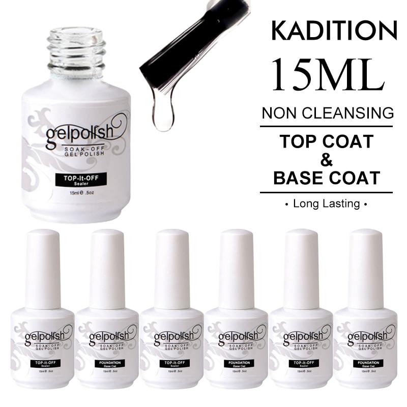 Nail Polish 15ml Top Coat Gel Nails Bottom Gel Top Base Coat UV Shiny Sealer Soak Off Reinforce Long Lasting Nail Art Gel Primer