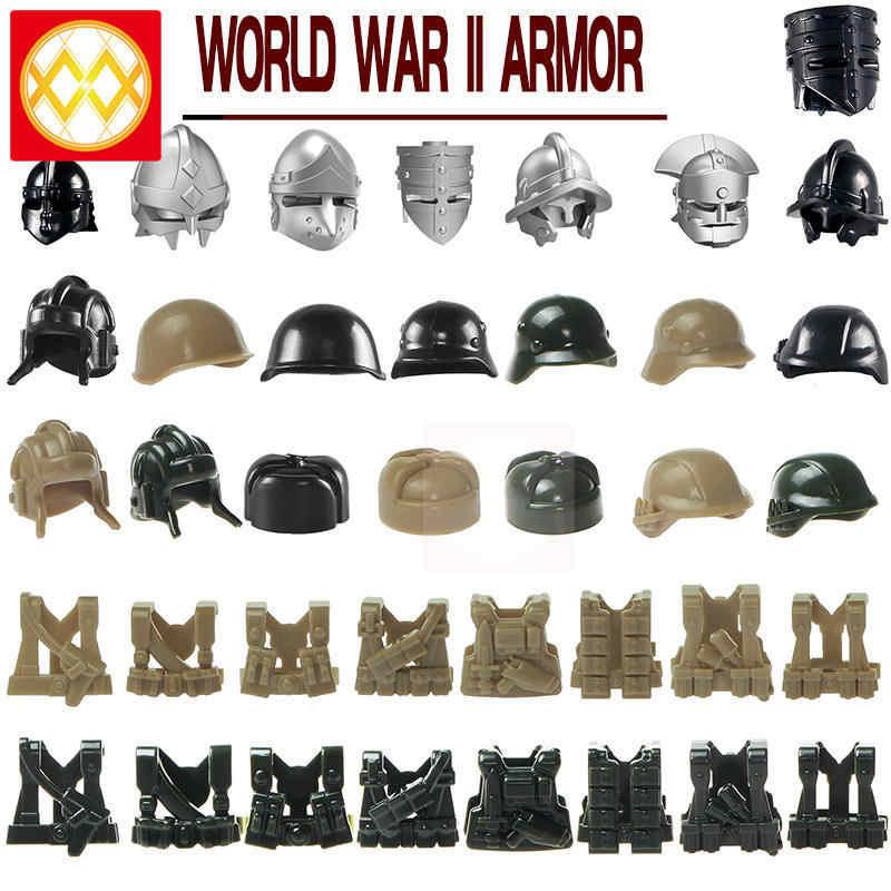 10 unids/lote WW 2 armadura militar soldado ejército chaleco vestido de batalla arma accesorios para bloques de construcción de modelo de los niños regalos de juguetes de peluche