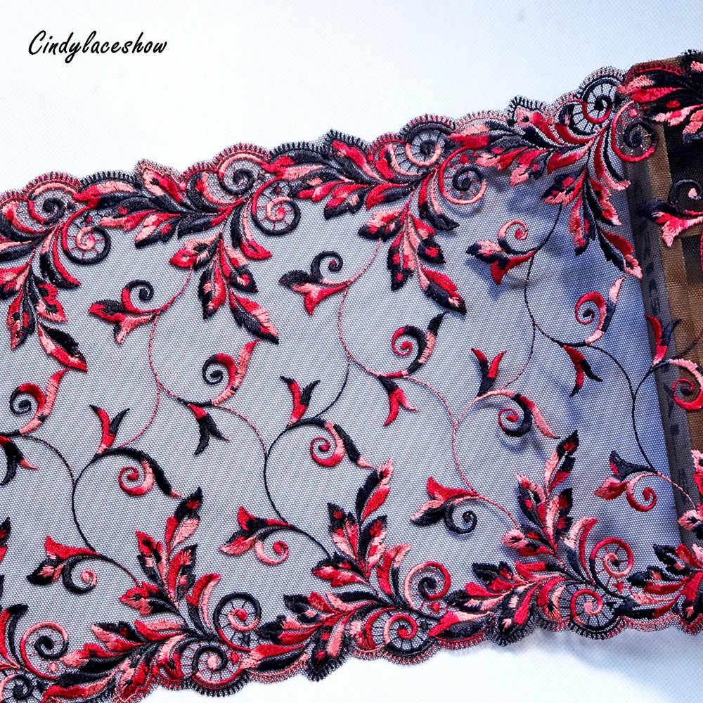 1 metre 21.5cm geniş İşlemeli dantel Trim siyah tül giysi aksesuarları gipür kırmızı çiçek dantel süslemeler dikiş dantel aplikler