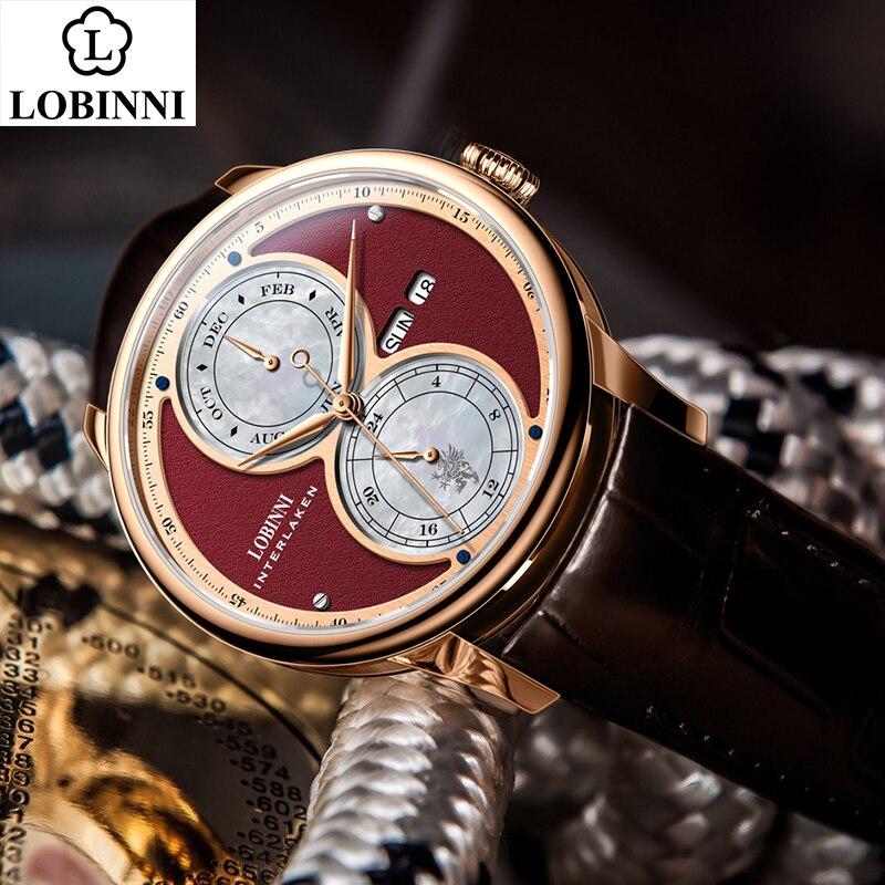 LOBINNI Automatic Mechanical Watch Men мужские часы Relogio Waterproof Luxury Latest Business Wristwatch Erkek Kol Saati