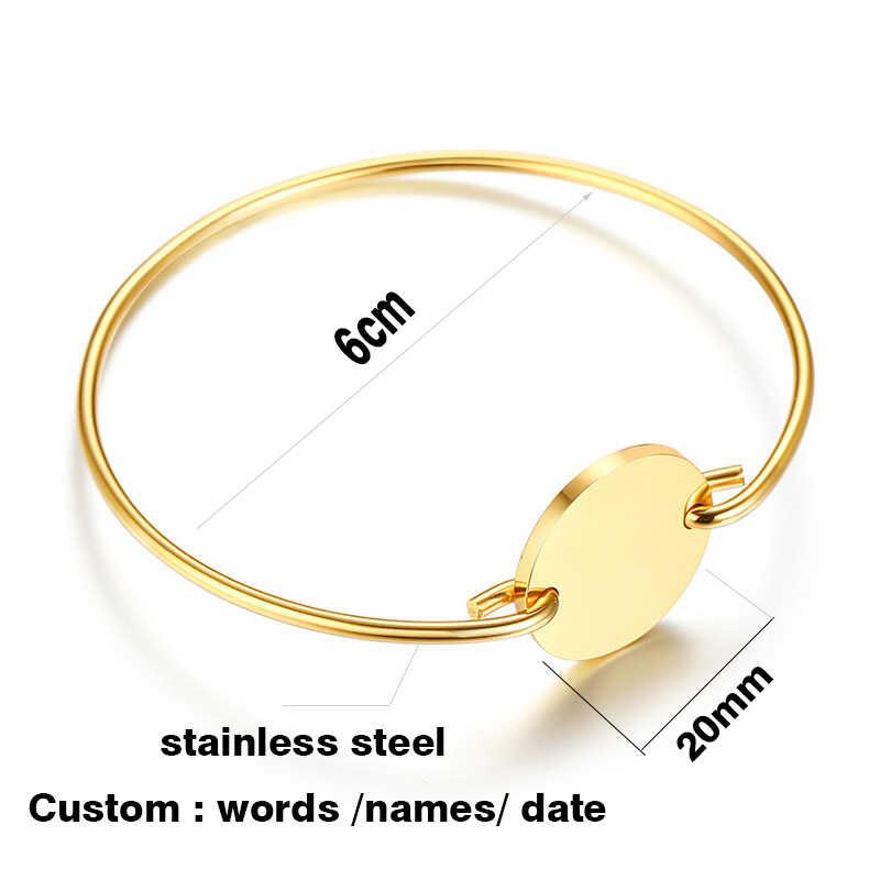 Moda chique personalizado bangle para as mulheres cor de ouro gravado letras romântico redondo pulseira amantes presente festa jóias
