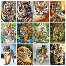 HUACAN obrazy olejne według liczb tygrys zwierząt rysunek na płótnie ręcznie malowane prezent artystyczny obraz DIY według numerów zestawy dekoracji wnętrz
