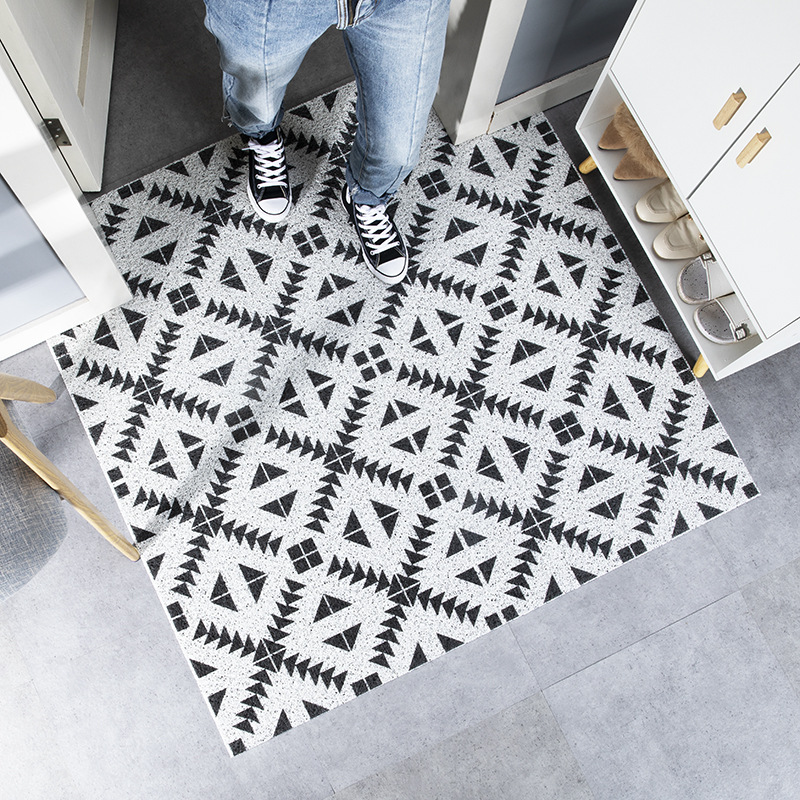 Customized PVC PVC Rubber Door Mat Black White Geometry Diamond Plaid Indoor Outdoor Waterproof Easy Clean Low-Profile Rug Mats