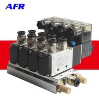 4V210 08 DC24V 12V 2 Positions 5 Way Quadruple Solenoid Valve Aluminum Base Fitting Mufflers Set 3 4 5 6 Stations AC220V AC110V