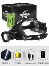 XHP90.2 yüksek güç led baş feneri zoom usb far el feneri şarj lambası 18650 güç bankası 8000mAh yürüyüş balıkçılık far