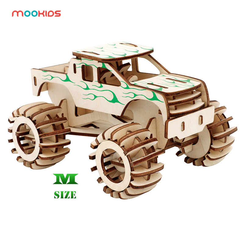 Educational Hobbies Gift DIY 3D Wooden Car Truck Puzzle Game Children Kids Natural Color Toy Model Building Kits Children's Toys