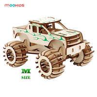 Hobbies educacionais presente diy 3d caminhão de carro de madeira jogo de quebra-cabeça crianças crianças cor natural brinquedo modelo kits de construção das crianças brinquedos