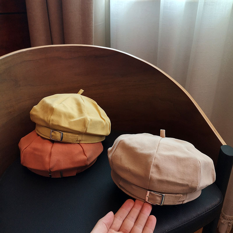 2020 New Japanese And Korean Spring And Summer Belt Buckle Octagonal Hat Female Retro British Painter Beret 56-58CM