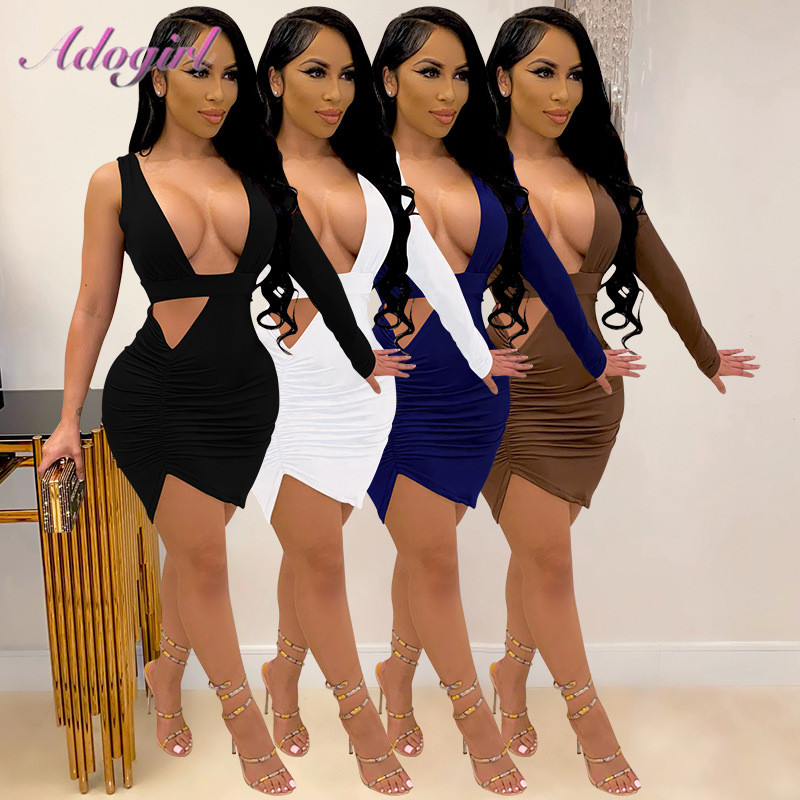 Sexy One Shoulder Deep V Neck Hollow Out Night Club Party Skinny Mini Dress Women Casual Backless Stacked Dresses Outfit Vestido|Dresses| - AliExpress