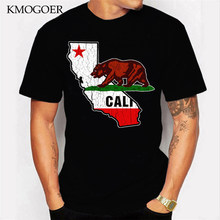 California State Bear Flag Vintage Distressed Arrival Men'S T-Shirts Fashion Summer Short Sleeve T Shirts Men Male Tee Shirts(China)