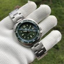 SD1970-GR Steeldive Rubber Band 44MM Men NH35 Dive Watch with Green Ceramic Bezel