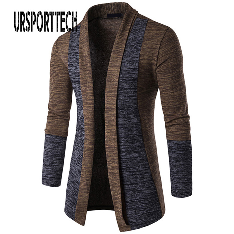 Plus Size Men Patchwork Sweater Fashion Pattern Design Korean Style Long Sleeve Male Cardigan Sweater Slim Fit Casual Sweater