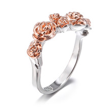 Ladies new rose ring sexy luxury high-end jewelry accessories lovers gift two-color gold engagement