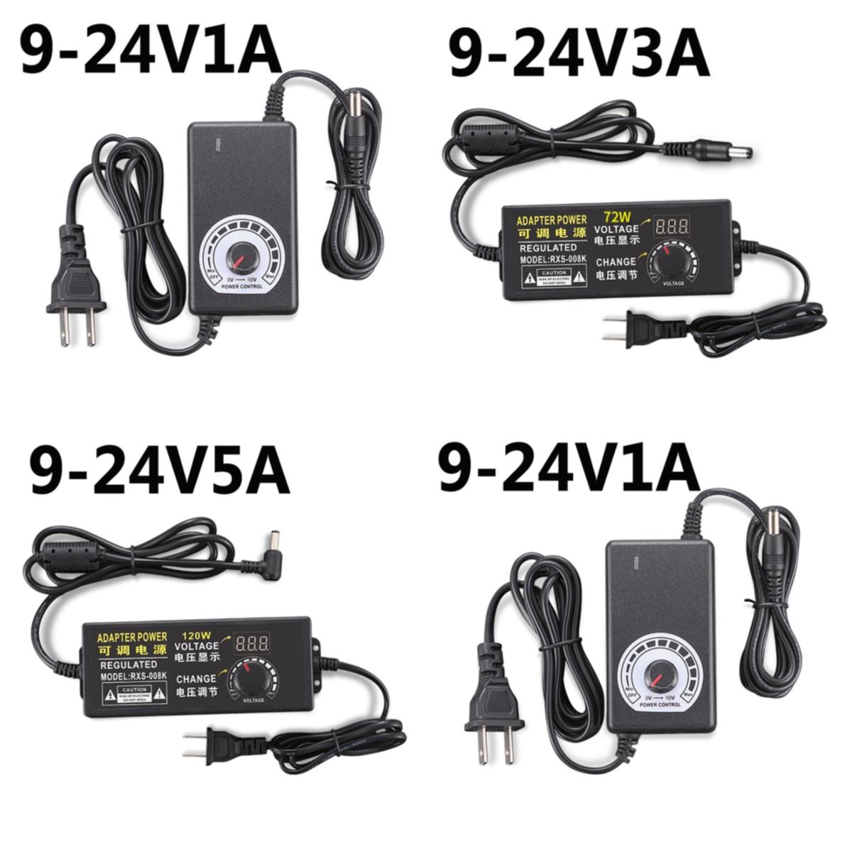 Universel 110-220V AC/DC 9V 9.5V 12V 13.5V 14V 15V 1A 2A 5A 17V 18V 19V 20V 22V 24V adaptateur de alimentation Led réglable 24V approvisionnement