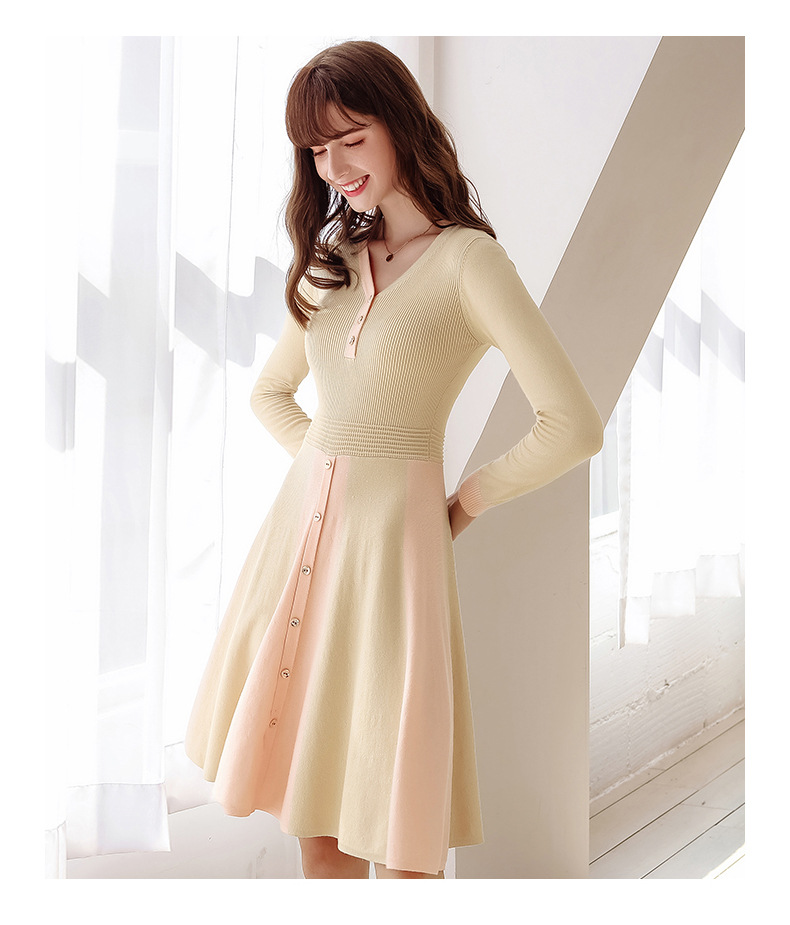 2020 Autumn New Women's Elegant V-neck Long Sleeve A- Line Dress Lady Slimming Knitted Dress