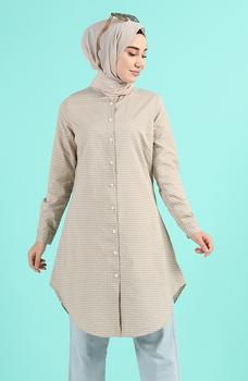 Minahill Mink tunika 2519-01 moda muzułmańska islamska odzież skromne topy arabska odzież długa tunika dla kobiet tanie i dobre opinie TR (pochodzenie) tops Aplikacje Bluzki i koszule Octan Dla dorosłych