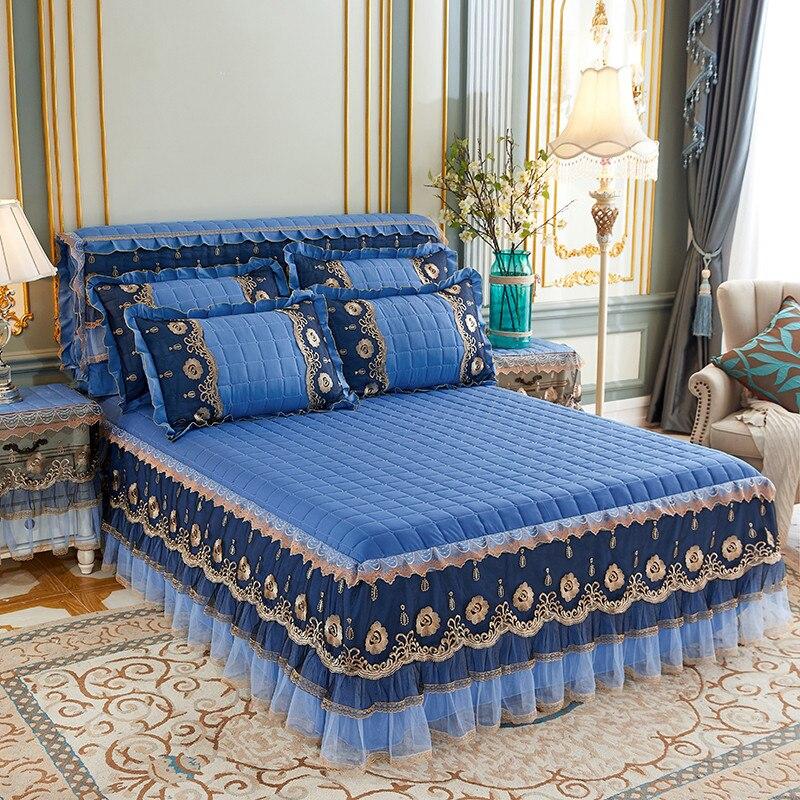 Однотонная Плотная хлопковая накидка для кровати, кружевная теплая клетчатая юбка принцессы для кровати, двуспальное мягкое эластичное покрывало королевской королевы|Кроватный подзор| | АлиЭкспресс