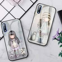 Funda de teléfono con ilustración artística para niña, cristal para Huawei P30 Lite 20 Por P9 10 Honor 8X9 10 NOVA 5