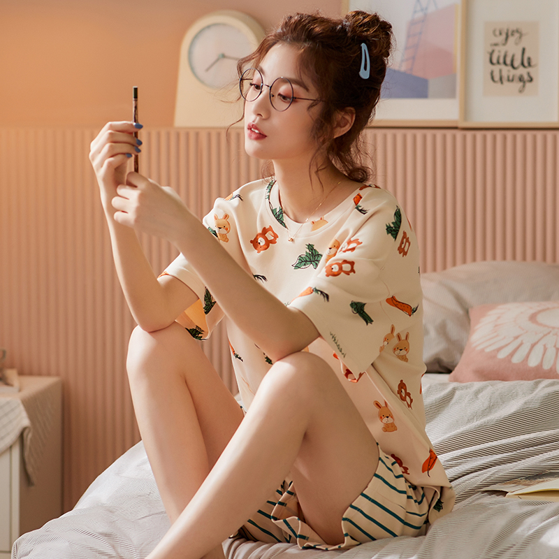BZEL Hot Sale Ladies Sleepwear New Spring Summer Women Pajama Sets Mujer Short Pijamas Pyjamas Casual Home Wear Cotton Underwear