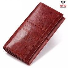 تتفاعل محفظة طويلة النساء جلد طبيعي الإناث مصمم محفظة فاخرة ID الائتمان حامل بطاقة هاتف محمول عملة جيب المال حقيبة