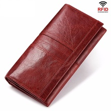 Rfid Long Wallet  Women Genuine Leather Female Designer Purse Luxury ID Credit Card Holder Cell Phone Coin Pocket Money Bag