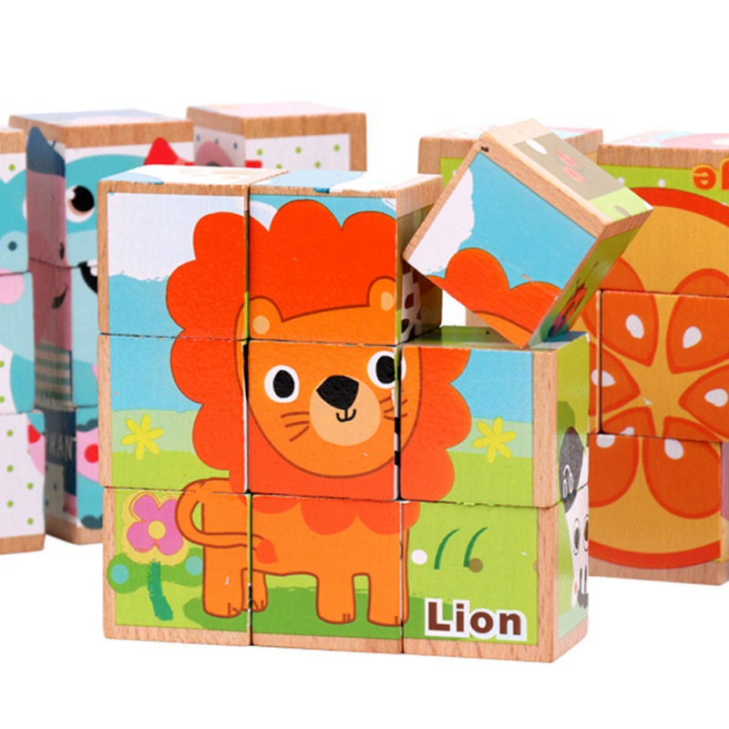 Kids Sorting Toy Building Toy Animals Wooden Puzzles Jigsaw Baby Educational Learning Toys For Children Gift 9Pcs