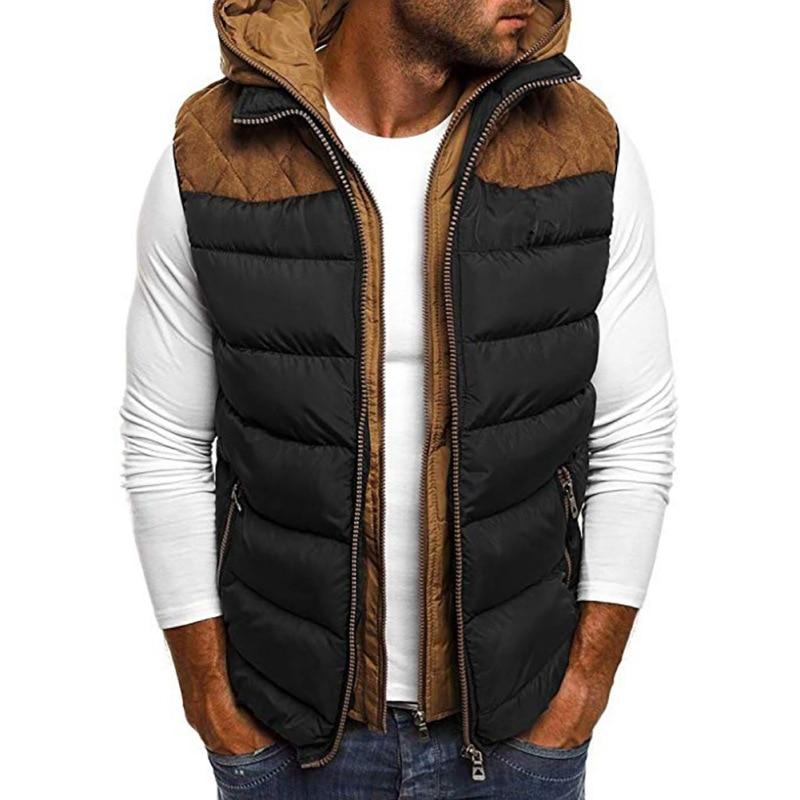 2020 Men's Autumn Winter Puffer Vest--Hooded Warm Sleeveless Jacket Gilet Patchwork Zipper Slim Vest Down Jacket Coat