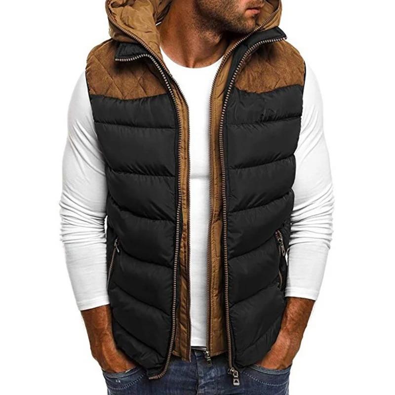 2020 Men's Autumn Winter Puffer Vest Hooded Warm Sleeveless Jacket Gilet  Patchwork Zipper Slim Vest Down Jacket Coat Down Jackets  - AliExpress
